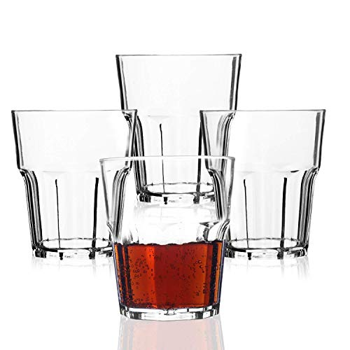 Plastic Drinking Glasses,PEMOTech 4 Pack 9 Oz Clear Acrylic Water Tumblers, Restaurant Quality Plastic Water Cups, Unbreakable Water Glasses for Kids,100% BPA-free,Shatterproof Cups Dishwasher Safe