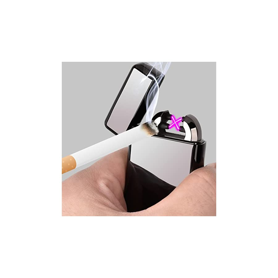 Electric Lighter, Epress Dual Arc Flameless and Windproof USB Rechargeable Lighter perfect for Cigarettes, Candles and More Black