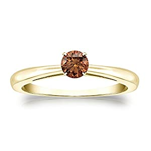 14k Yellow Gold 4-Prong Round-cut Brown Diamond Solitaire Ring (1/4 cttw, Brown, SI2-I1) Size 8