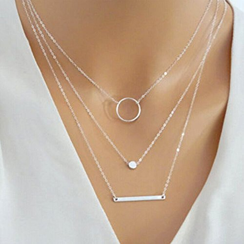CanB Choker Necklace Layered Pendant Necklaces Delicate Necklaces Chain Jewelry with Accessories for Women Girls (Silver)