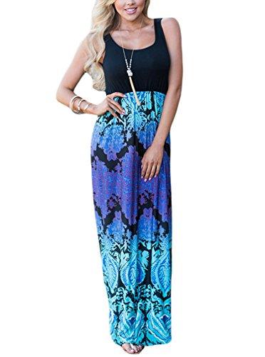 Sleeveless Ruched Maternity Dress (WO-STAR Women's Sundress Sleeveless Full Length Racerback Summer Dress Blue+Purple XL)