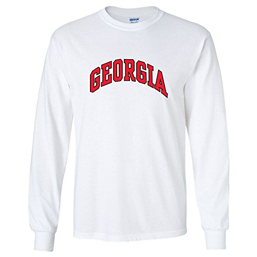 University of Georgia Bulldogs UGA Classic Arch Adult Long Sleeve T-Shirt (White, L)