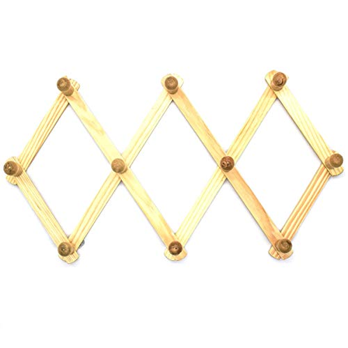 AUEAR Set of 2 Wood Expandable Rack Hanger with Pegs Accordion Style Wall Mounted Peg Rack for Coat Hat Coffee Mug
