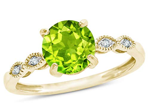 Star K Round 7mm Genuine Peridot Vintage Antique Look Engagement Promise Ring 10 kt Yellow Gold Size 4.5