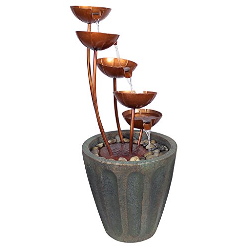 Design Toscano Copper Falls Water Fountain Garden Decor Outdoor Water Feature, 33 Inch, Polyresin, Copper Finish