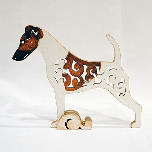 - White with brown Smooth Fox Terrier figurine, dog statue made of wood (MDF), statuette hand-painted