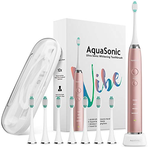 AquaSonic VIBE series Ultra Whitening Electric Toothbrush - 8 DuPont Brush Heads & Travel Case Included - Sonic 40,000 VPM Motor & Wireless Charging - 4 Modes w Smart Timer - Satin Rose Gold