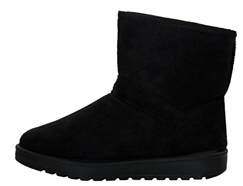 Suede Walk Pull Cushion 8 Lined Fur Ladies UK Winter Black Buckle Ankle Sizes Girls Snow On Faux Warm Thick Boots 5 Womens Shoes wIrxrRq8d