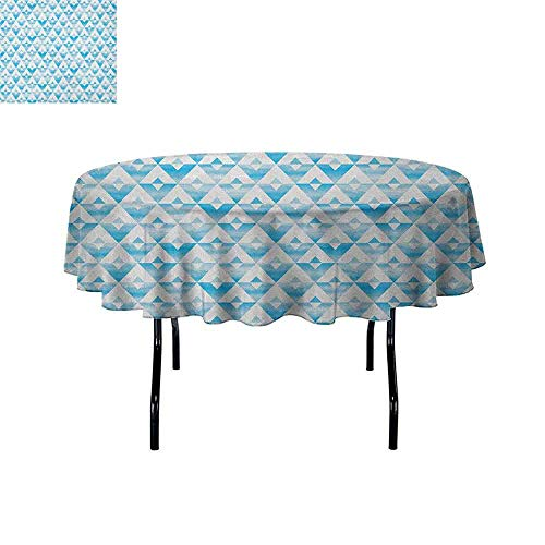 Modern Printed Tablecloth Geometric Contemporary Shapes Triangle Line with Clear Cloud Backdrop Image Desktop Protection pad D67 Inch Pale and Baby Blue ()