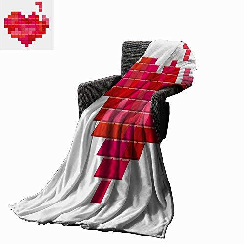 Luckyee Valentines Day Lightweight Blanket Video Game Tetris Red Heart Vintage Pixelated Design Joyful Romantic 60