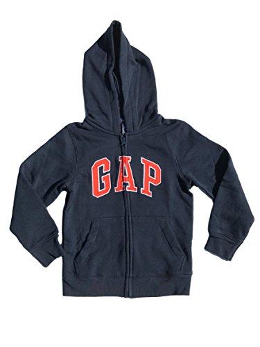 GAP Boys Fleece Arch Logo Zip up Hoodie (X-Small, Navy Orange Logo) from GAP