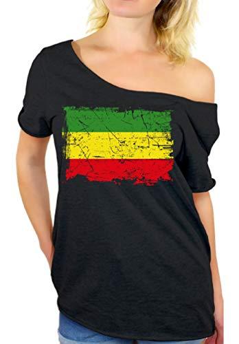 Awkward Styles Women's Rasta Leaf Off The Shoulder Tops for Women T Shirts Marijuana Leaf Pot Leaf (S, Rasta Flag)
