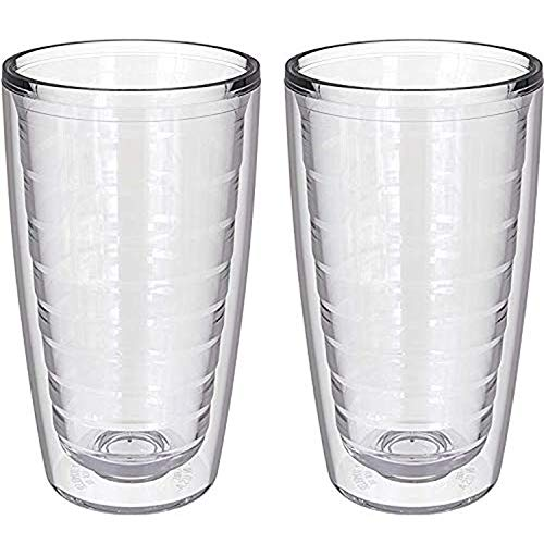 2-pack Insulated 16 Ounce Tumblers - BPA-Free - Made in USA - Clear