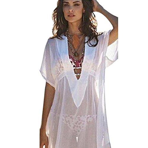 Swimwear Set Women,Rian Women Chiffon Cover Up Bikini Butterfly Sleeve Swimsuit Beach Shirt Dress Bathing Smock (XL) (Chiffon Bandeau)