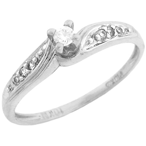 (14k White Gold Promise Ring Round Center Diamond and Accents)