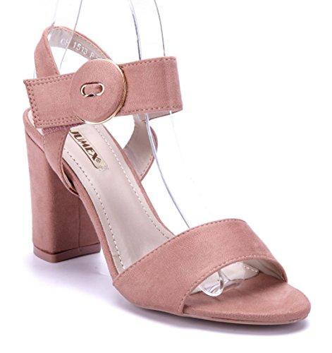 Schuhtempel24 Damen Schuhe Sandaletten Sandalen Blockabsatz 9 cm Rosa
