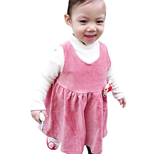 Odeer Toddler Kids Baby Girls Bowknot Dress Vintage Corduroy Vest Dress (1T, Pink) ()