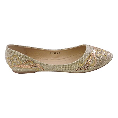 Mujeres Pointed Toe Ballet Flats Rhinestone Gold Mujer