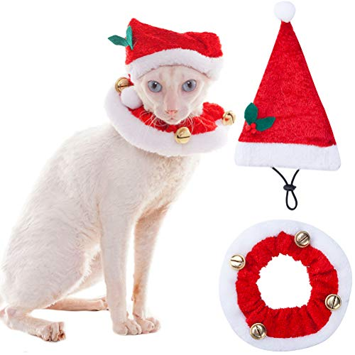 SCENEREAL Christmas Cat Costumes Santa Hats and Collar for Cats Small Dogs Tiny Pets X-mas Gifts -