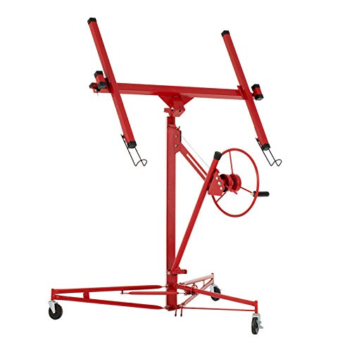 - SUNCOO 11' Drywall Lift Rolling Lifter Panel Hoist Jack Lockable Caster Wheels Construction Tool, 150Lbs, Red
