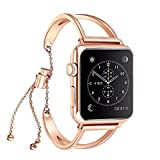 KoudHug Compatible Apple Watch Band 42mm, Accessories Strap Compatible Apple Watch, Hollow Chain Wristband Smart Watch iwatch Universal Bracelet Women Girls Feminine Pendant Tassel (Rose Gold, 42mm)