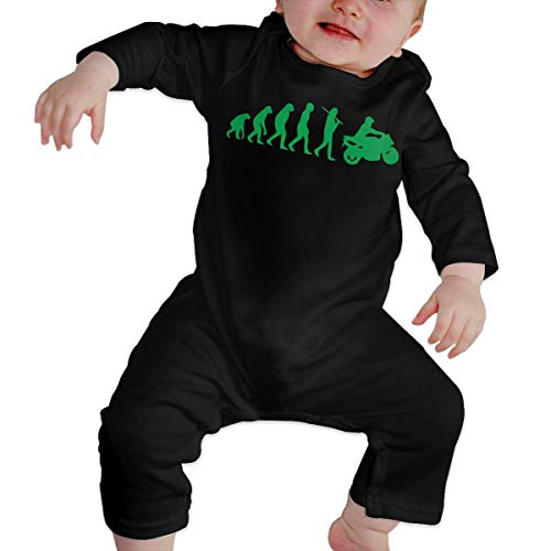 Vy98pu& Infant Baby Boy Girl Motorcycle Evolution Long Sleeve Romper Jumpsuit, Comfortable Cotton Bodysuit Outfits Clothes Black ()