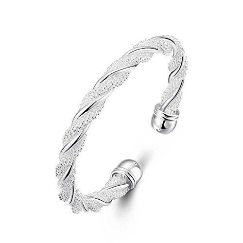 - Lingduan Fashion 925 Sterling Silver Cable Wire Twisted Cuff Bangle Bracelets Set for Women