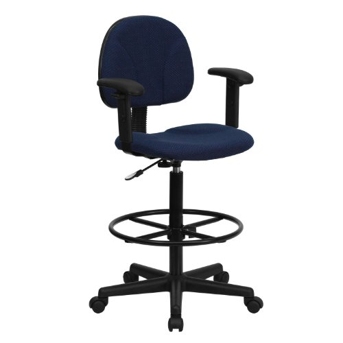 MFO Navy Blue Patterned Fabric Ergonomic Drafting Stool with Arms (Adjustable Range 26''-30.5''H or 22.5''-27''H) by My Friendly Office