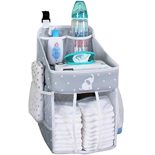 Baby Crib Diaper Caddy - Hanging Diaper Organizer - Storage For Baby Nursery - Hang on Crib, Changing Table, Playard or Furniture - Elephant Gray - 17x9x9