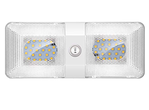 BlueFire 1 Pack RV Interior Light Super Bright DC 12V Led RV Ceiling Double Dome Light Trailer Camper RV Interior Lighting with ON/Off Switch for Trailer Camper Car RV Boat (White) (Covers Au Natural)