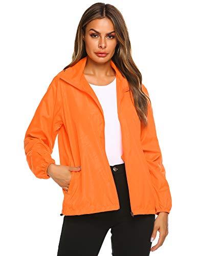 Zeagoo Lightweight Windbreaker Women Packable Raincoat Hooded Waterproof Jacket