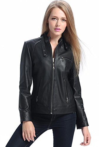 "BGSD Women's ""Julie"" Cowhide Leather Moto Biker Jacket - ..."