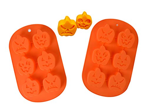 HapWay 2 Pack Halloween Witch Ghost Small Pumpkin Face Shape Candy Mold, Silicone Soap Molds Chocolate Cake Baking Moulds Pull-Apart Dessert Cake Pan Mold(Random -