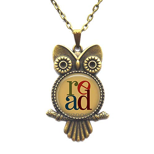 Book Owl Necklace Read Reading Bookworms Librarian Jewelry Art Pendant Owl Necklace Men Women-MT269 -