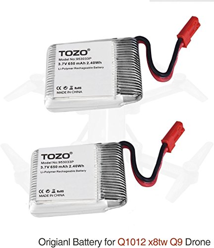 TOZO Lithium battery for Q1012 X8tw Drone [Q3030 drone NOT compatible] RC Quadcopter Remote Quadcopter.[ 2PCS ] by...