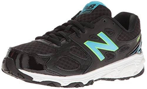 New Balance Girls' KR680 Running Shoe, Black/Blue/Green, 1 Medium US Little Kid