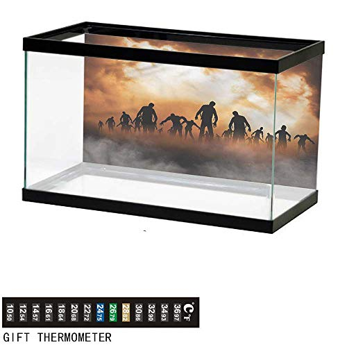 bybyhome Fish Tank Backdrop Halloween,Zombies Misty,Aquarium Background,36