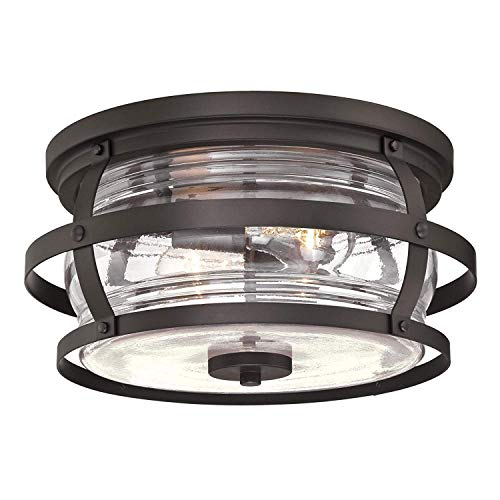 Flush Glass Fixture Ceiling Mount - Westinghouse Lighting Weatherby Two-Light Flush-Mount, Weathered Bronze Finish with Clear Glass Outdoor Ceiling Fixture (Flush Mount Bronze Finish)