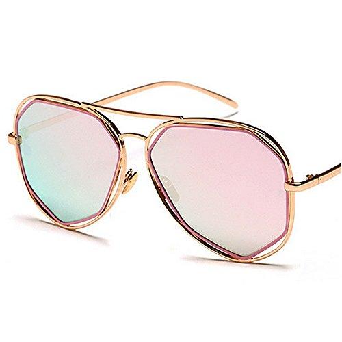 al Gafas Godbb Las Libre Metal de Aire Que Lente de de Tonos Polígono de UV Sol polarizada de Moda Gafas viajan Sol de Irregular Azul Color Marco protección Mujeres Rosado Proteccion Ojos UUgrq