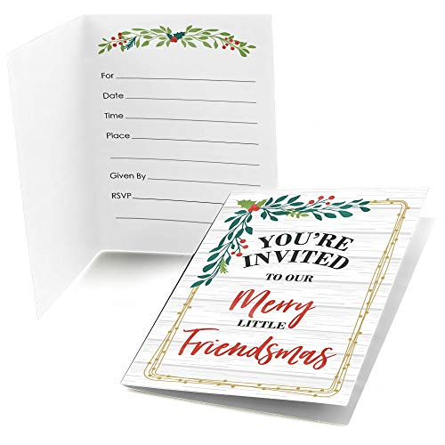 Friends Invitation Best (Big Dot of Happiness Rustic Merry Friendsmas - Fill in Friends Christmas Party Invitations (8 Count))