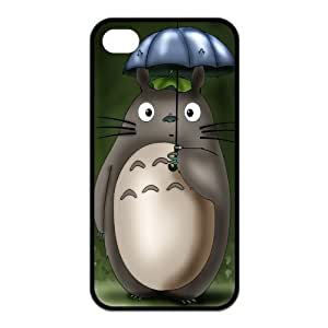4S Case,TPU iPhone 4s Case,Anime My Neighbor Totoro Design Fashion Pattern Hard Back Cover Snap on Case for iPhone 4 / 4s (Black/white) WANGJING JINDA