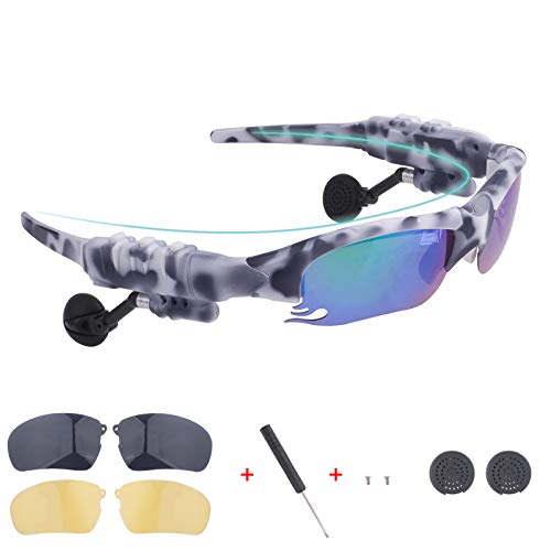 똑똑한 BLUETOOTH 선글라스 변색되는 렌즈를 쉽게 전화를 걸고 음악을 듣고에 대한 탐색을 무료로는 한 쌍의 검은 렌즈의 쌍 NIGHT VISION 노란택트 렌즈(위장 흰색)