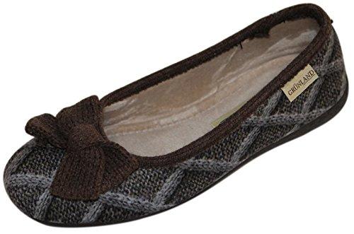 GRUNLAND 0453 Dear pantofola donna fiocco TAUPE -T.MORO