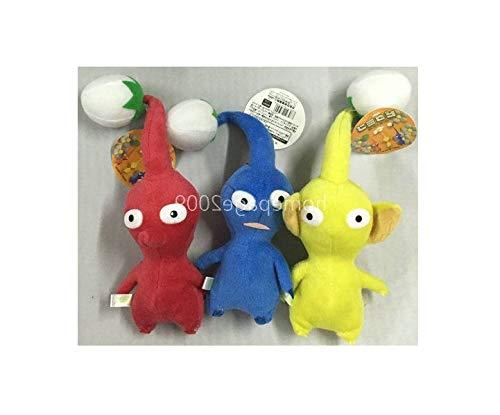 Triple Set 6-1/2'' Red/Blue/Yellow Bud Stuffed Plush Animal Toys Quick Arrive