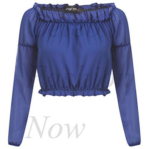 Para el hombro traje de neopreno para mujer pantalones de deporte para mujer de encendido y apagado de chifón de escalfado blusa de tela diseño de Mary tanana Top de danza Summer azul real