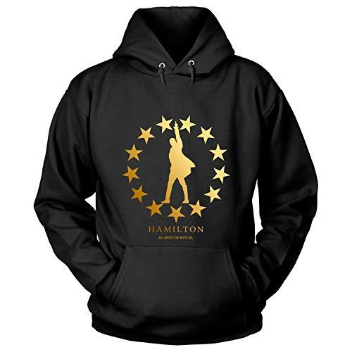 Star Hamilton (Hamilton Gold Star T Shirt, an American Musical T Shirt - Hoodie (S, Black))