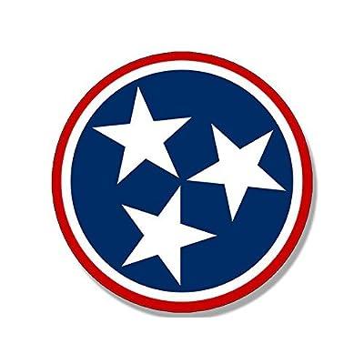 American Vinyl Round RED 3 Star Tennessee Logo Sticker (Flag tn Nashville Love): Automotive