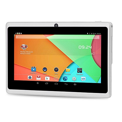 7'' inch Android Tablet PC,1GB RAM 8GB Storage Phablet Tablet Quad Core Unlocked Tablets, Dual Camera Sim Card Slots, WiFi, GPS, Blue-Tooth 2.1,1024600 HD IPS Screen Display, Google Play(White) by XINSC