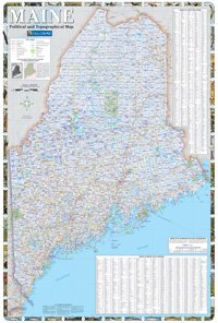 Maine Political And Topographical Map Amazon Ca Office Products