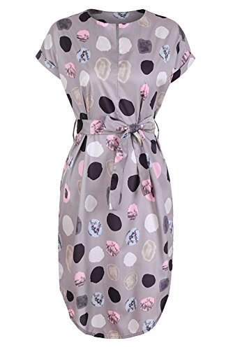 Belted Dress Gray (Yinggeli Womens Summer V-Neck Geometric Dot Pattern Belted Casual Midi Dresses (US XL=Tag XXL, Gray))